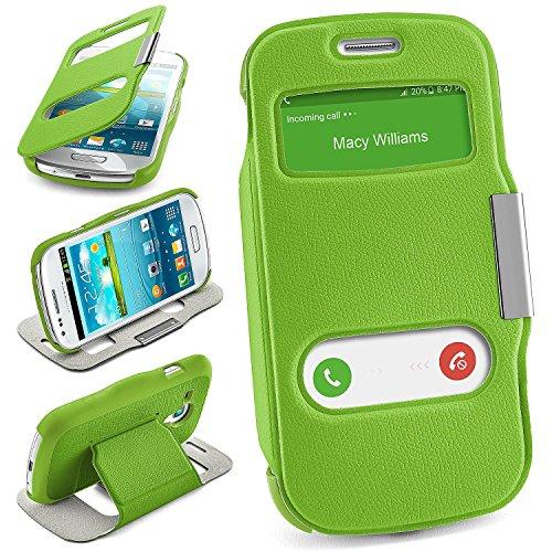 MoEx Samsung Galaxy S3 Mini   Hülle Grün mit Sicht-Fenster Window Cover Schutzhülle Ultra-Slim Handyhülle für Samsung Galaxy S3 Mini S III Case Flip Handy-Tasche Stand-Funktion