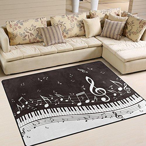 naanle schwarz und weiß Musik Note rutschfeste Bereich Teppich für Living Eßzimmer Schlafzimmer Küche, 50x 80cm (1,7'X 2,6' ft), Klavier Schlüssel Musik nurseryrug Boden Teppich Yoga Matte, multi, 120 x 160 cm(4' x 5')
