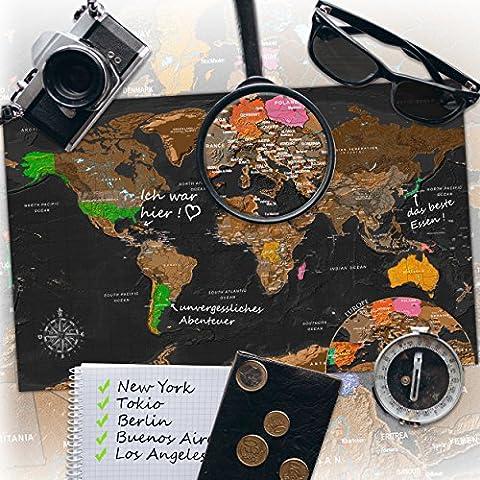 decomonkey | Weltkarte zum Rubbeln | Rubbelweltkarte | Landkarte zum Freirubbeln | Personalisierte Weltkarte | Laminiert (beschreib- & wischbar) L Extra Europakarte | Meeres- & BergreLief | (50x31 cm)
