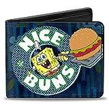 Buckle Down Men's Wallet Sponge Bob Nice Buns Bi-Fold, Multi, One Size