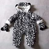 6-9 months - Baby Boys Girls Unisex Snowsuit - Gorgeous Cute Black and White Hooded Faux Fur Animal Print Snowsuit & Mittens Set / Babies Winter Clothes