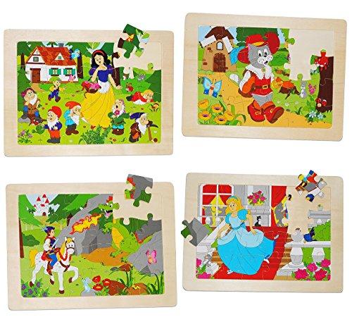 4 tlg. Set: Rahmenpuzzle aus Holz - jeweils 24 Teile - Märchen - große Holzpuzzle - Motorikspiel - Motorik - Steckpuzzle Puzzle - für Kinder / Mädchen Jungen - Legespiel - Kinderpuzzle - Märchenpuzzle