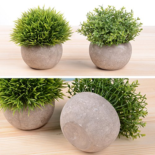 YQing-Potted-Artificial-Plant-126-Pcs-Faux-Flower-Pot-Fake-Green-Grass-Plant-for-Home-Office-Decor