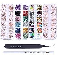 NICOLE DIARY Kit de decoración de uñas con pinzas curvadas para pestañas y lápices de cera