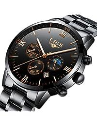 Relojes para Hombres LIGE Acero Inoxidable Cronógrafo Negro Clásico Lujo Negocios Casual Relojes Impermeable Fase Lunar