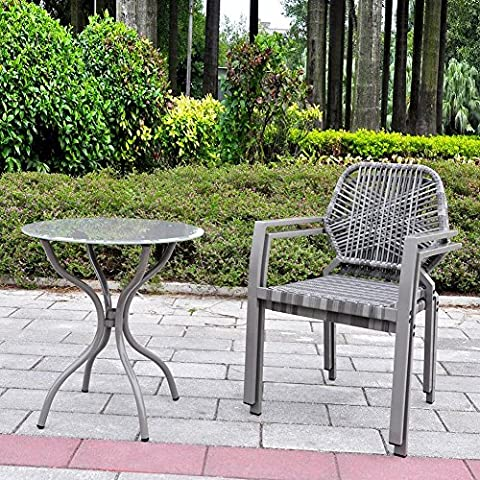 3 Piece All-Weather Outdoor Bistro Set, Indoor and Outdoor Bistro Table and Chair Set, Resin Wicker Outdoor Patio Furniture Dining Set (Gray)