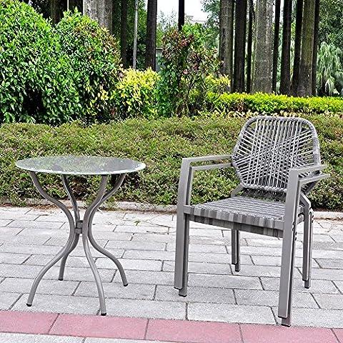 3 Stück Allwetter-Outdoor-Bistro-Set, Indoor-und Outdoor-Bistrotisch und Stuhl-Set, Resin Wicker Outdoor