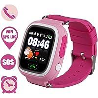 Bambini Smartwatch 1.22 pollici touch screen GPS Tracker SOS Anti-perso Bambini Orologio Finder sicurezza Monitor (Rosa)
