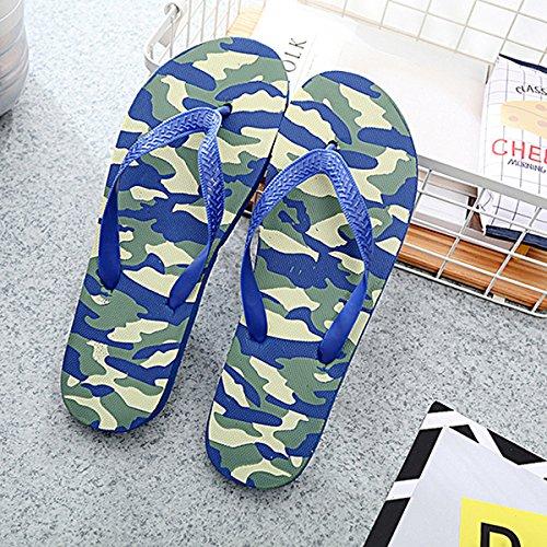 Bluelover Flip Flops De Los Hombres Cómoda Playa Casual Antideslizante Anti-Deslizamiento del Pie del Patrón De Camuflaje Sandalias - Azul - 42