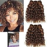 Emmet 8pollice extension capelli veri ricci corto umani brasiliani naturali  ondulato remy Kinky Curly donna afro 888f0b23b0be