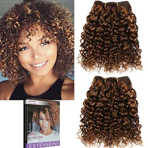 Emmet 8pollice extension capelli veri ricci corto umani brasiliani naturali ondulato remy kinky curly donna afro 50g/pezzo 2pezzo(i)/pacco (piano color 4#/30#)