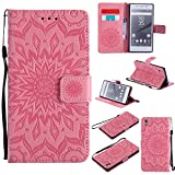 For Sony Xperia Z5 Case [Pink],Cozy Hut [Wallet Case] Magnetic Flip Book Style Cover Case ,High Quality Classic New design Sunflower Pattern Design Premium PU Leather Folding Wallet Case With [Lanyard Strap] and [Credit Card Slots] Stand Function Folio Protective Holder Perfect Fit For Sony Xperia Z5 5,2 inch - Pink