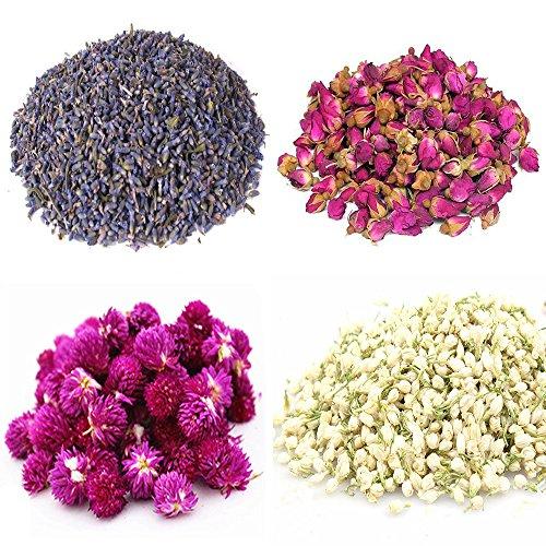 Tooget petali di fiori e boccioli comprende lavanda, rosa, gomphrena globosa, gelsomino, fiore di tè verde alla rinfusa per fare l'olio botanico, perfetto per tutti i tipi di artigianato