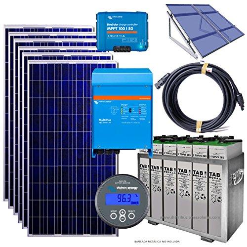 Kit solar Photovoltaik isoliert 3000W mit 6Platten 260W, 12Batterien 5topzs 442575Ah c100, Regler MPPT 100/50Ah, victron Inverter Ladegerät Victron Multiplus Wellenlänge reine 3000W, Akku-Monitor Victron BMW 700, Boden, Kabel und GUIA Montage-Struktur in Spanisch