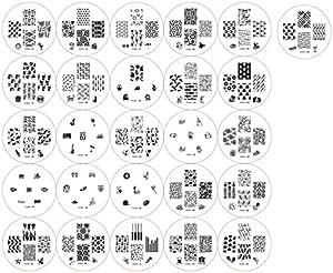 Summer collection 2012 Stamping Nail Art Kit / Set d'accessoires pour manucure / pedicure pour déco d'ongles par Cheeky: Eventail de 26 plaques d'images pour un total de 161 pochoirs. Rapport prix / quantité imbattable!
