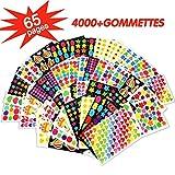 MOKIU 65 Feuilles Gommettes Autocollant (Plus de 4000 Gommettes) Autocollant en Coeur Étoiles Pois Colorés Stickers pour Scrapbooking, Loisirs Creatifs, Materiel Activites Manuelles, Album DIY...