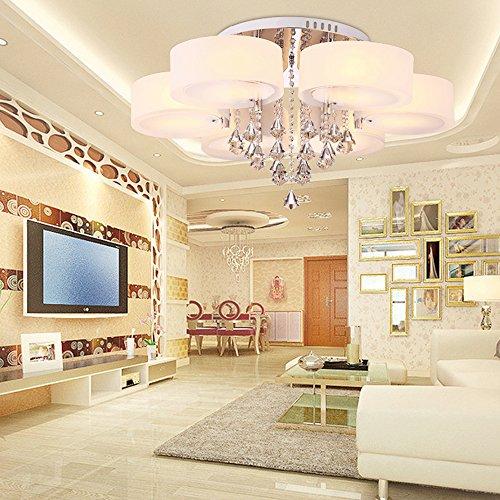 Style Home® 42W Kristal LED Deckenlampe Deckenleuchte 6103 6 Flammig  Warmweiss Mit Fernbedienung Incl.