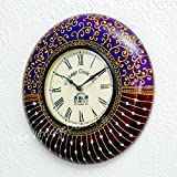 [Sponsored]Vintage Clock Wooden Hand-Painted Emboss Purple Brown Clock / 1 Year Warranty / Non-ticking (Silent Clock) / Comes With Perfect Gift Packing
