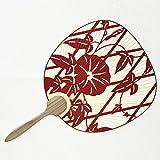 Uchiwa Japanischer Blattfächer Trichterwinde, rot, Fächer in traditioneller Form
