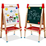 Chevalet Enfants Chevalet d'Art Double Face avec Rouleau de Papier Tableau Blanc et Tableau Noir avec Chiffres et Autres Acce