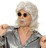 Widmann - Pe760/grise - Perruque Annees 70 Grise Avec Moustache Luxe
