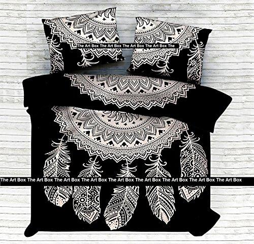 THE ART BOX Schwarz und Weiß Dream Catcher Indische Bettbezug Bettwäsche Bettdecke 3 Stück Baumwolle Bettbezug Set Queen Size 85x90 Zoll (3 Stück Queen-size-schlafzimmer-set)