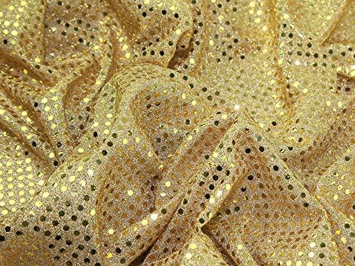 Tela lentejuelas, 114 cm ancho, color dorado