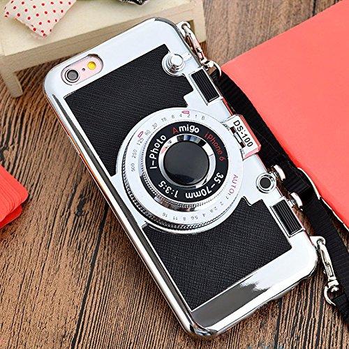 VCOMP® Camera case Coque Silicone TPU motif appreil photo élégant, support vidéo + mirroir pour Apple iPhone 6 Plus/ 6s Plus + stylet - NOIR NOIR