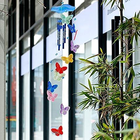 Dairyshop Papillon 4tubes Carillon Bell Home Ornement Église à suspendre Décor de jardin Yard NEUF bleu