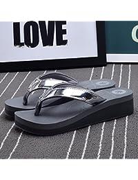 Las sandalias antideslizantes de las nuevas de la manera del verano sandalias de la playa de los deslizadores frescos de la playa, gris, blanco ( Color : Gris , Tamaño : EU36/UK4/CN36 )