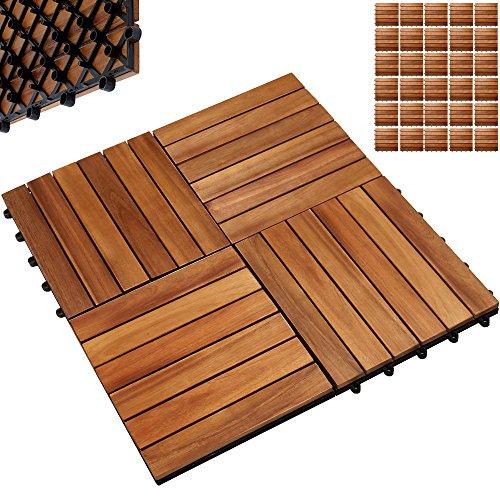 Deuba 33x Holzfliesen Akazie | FSC®-zertifiziertes Akazienholz | 3m² Fliese 30x30 cm Stecksystem Mosaik | Zuschneidbar Terrasse Balkon
