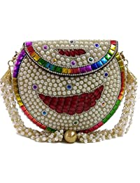 Pearl Metal Bag Ethnic Clutch Tribal Wallet Vintage Purse Indian Hand Clutches
