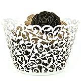 Colormax - Pirottini per cupcake e muffin, con motivo a piccoli fiori e pizzo, tagliato al laser, utili come decorazioni per feste, matrimoni e compleanni, 100 pezzi, colore: bianco