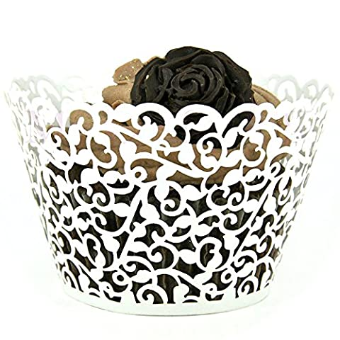 100pcs Little Flower Vine Lace Laser Cut Cupcake Wrappers Wraps Liners Baking Cup Muffin Case Trays Wedding Birthday Party Decoration White