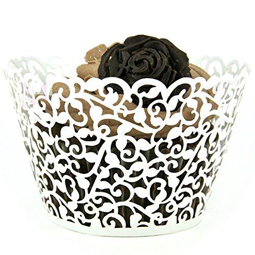 100pcs Little Flower Vine Lace Laser Schnitt Kuchen Verpackungen Wraps Cup Muffin Kasten Trays Hochzeit Geburtstag Partei Dekoration White