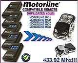 Motorline MX1 / MX2 / MX3 / MX4 / MX6 compatible mando a destancia, 433,92Mhz fixed code CLON, 4-canales reemplazo transmisor Al mejor precio!!!