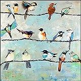 Keilrahmen-Bild - Atelier B Art Studio: Small Colorful Birds Leinwandbild Vögel bunt Kult modern (35x35)