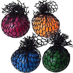 TE-Trend 4 Stück Squishy Mesh Ball Quetsch Antistress Squeeze Netz Spielzeug Erwachsene Kinder Mehrfarbig Sortiert