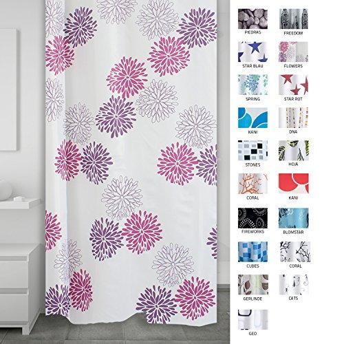 RIDDER 403060 Duschvorhang Textil ca. 180 x 200 cm, Sandra - Duschvorhang Lila