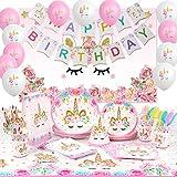 Shinelee Einhorn Party Set Kindergeburtstag Dekoration Happy Birthday Banner/Fotohintergrund/Teller/Partytüten/Partyhüte/Tischdecke Einhorn Geburtstag Party Zubehör für 16 Personen