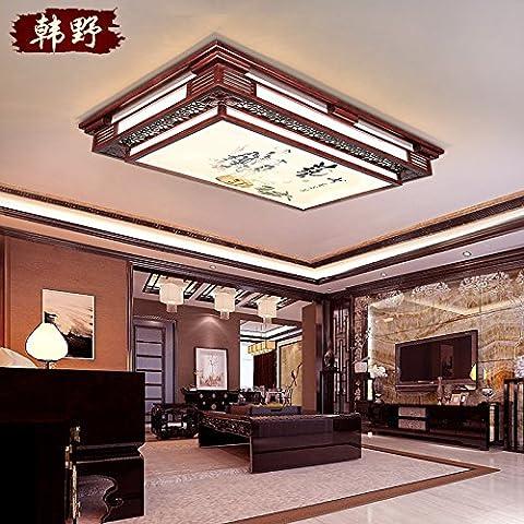 La chine au supermarché moderne DKSJ lampe de plafond Lampes Cuir Lampes Lampes de plafond rectangulaire en bois Antique conduit le salon la Chambre Lampes chinois d'étude