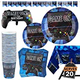 Kompanion 83 Piece Video Gaming Party Supplies Set Including Banner, Plates, Cups, Napkins, Tablecloth, X-Large Joy Stick Controller Balloon - Serves 20