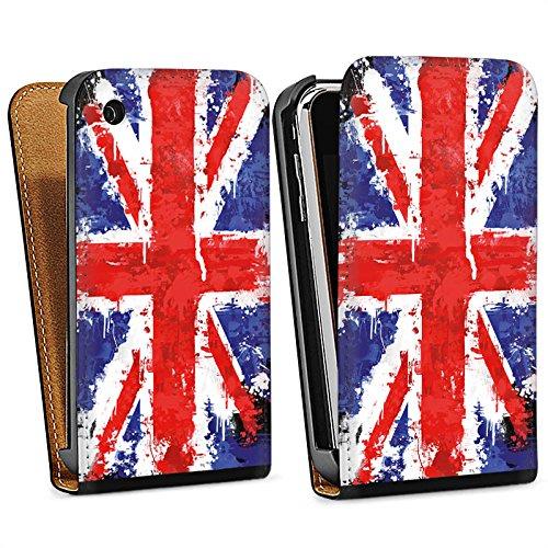 Apple iPhone 4 Housse Étui Silicone Coque Protection Union Jack Angleterre Drapeau Sac Downflip noir