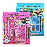 9PCS/Set Cartoon Stationery Set Bleistift/RADIERGUMMI/Lineal Schulbedarf Kinder Student Stationery Neuheit Geschenk - rose