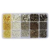 LolliBeads (TM) Schmuckverschluss-Set für Armband/Halskette Federspule Faltschließe Metall MixColor-12mm-Clasps-JumboKits