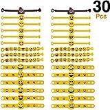 15242be5bc1f Tomkity 30 Emoji Slap Pulsera de Ggoma Banda de Emoticonos Pulsera de  Silicona con 6 Llaves