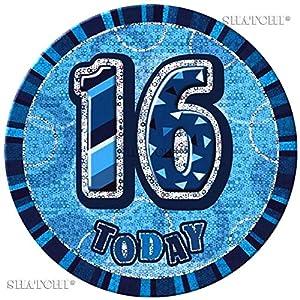 Gifts 4 All Occasions Limited SHATCHI-338 - Insignia de 16 cumpleaños con purpurina, color azul