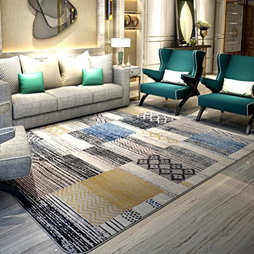 Bath Time Flagship Store LUYIASI- Teppich Wohnzimmer Couchtisch Schlafzimmer Nachttischdecke Moderne minimalistische geometrische Teppich Non-Slip Mat (Farbe : C, größe : 130x190cm) -