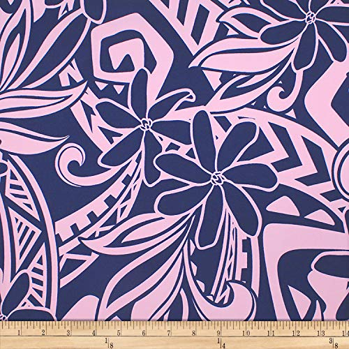 Trans-Pacific Textiles 0671072 Matte Jersey Knit Tribal Tiare Matters Pink Fabric Stoff, Textil, rose, By The Yard -
