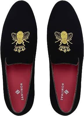 Santimon Mocassini Scarpe da Uomo Eleganti Velvet Slip On Penny Loafers Scarpe da Guida